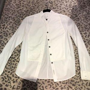 Rag & Bone tuxedo style white cotton shirt